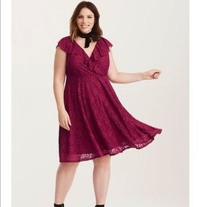Berry Red Torrid Lace Ruffled Skater Dress rose L